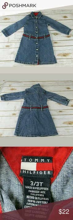 Tommy Hilfiger Girls' 3T Denim Jean Dress This adorable dress is long-sleeved with snap-front closure.  Chest is 22 inches, and 21 inches in length. Tommy Hilfiger Dresses Casual