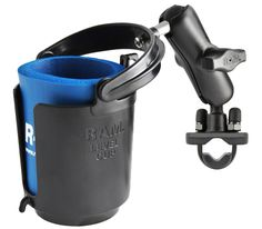 Securely hold your drinks on the road with this bevel mounted cup holder cones with an insulating foam insert and secure u-boot mounts. Handlebar Rail Mount with Zinc coated U-bolt base, self-leveling cup holder & cozy.