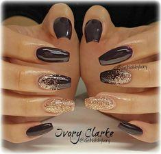 Ongles Fancy Nails, Trendy Nails, Cute Nails, My Nails, Acrylic Nail Designs, Nail Art Designs, Brown Nail Designs, New Years Nail Designs, Accent Nail Designs