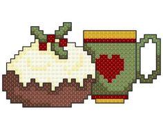 coffee embroidery patterns free | Christmas Pudding Cross Stitch Pattern Pattern