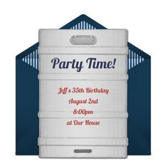 Customizable, free Beer Keg online invitations. Easy to personalize and send for a party. #punchbowl