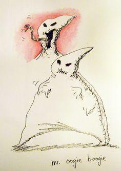 Tim Burton's renderings for Oogie Boogie. Lerve.