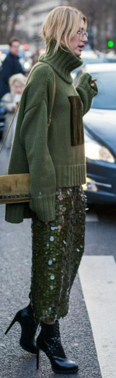 Who made Hailey Baldwin's green sweater, sequin skirt, and black ankle boots?