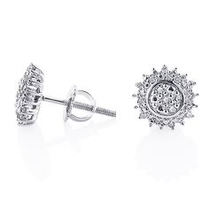 These pretty Sterling Silver Diamond Cluster Earrings Studs showcase carats of genuine diamonds. Surprise your loved one with this great gift without breaking your wallet. Mens Diamond Earrings, Diamond Studs, Trendy Fashion Jewelry, Cluster Earrings, Silver Diamonds, Sterling Silver, Objects, Bling, Wallet