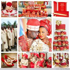 nigerian wedding red and gold wedding color scheme
