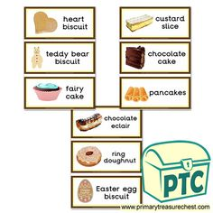 Cake Shop Role Play Resources - Primary Treasure Chest Teaching Activities, Teaching Ideas, Chocolate Biscuit Cake, Pancake Cake, Ourselves Topic, Eclairs, Cake Shop, Role Play, Treasure Chest