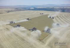 ~Wheat Harvest~ The wheat harvest is in full swing on the Camas Prairie near Nezperce, Idaho! Wheat fields are quickly being turned to stubble - this one, even quicker with 7 combines! Photo by Jeff Zenner Photography