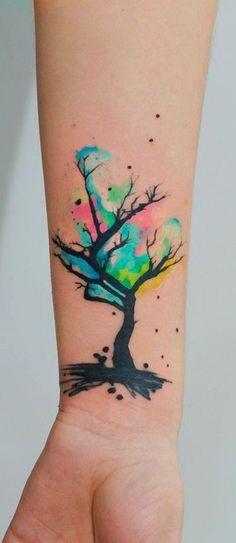 Flower Watercolor Tattoo Idea - MyBodiArt.com
