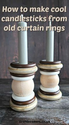 In this simple upcycling tutorial, we show you how to make candlesticks from a handful of old curtain rings and a couple of wooden spheres. Curtain Rings Crafts, Curtains With Rings, Coffee Table Upcycle, Painted Candlesticks, Pottery Barn Christmas, Bois Diy, Ring Crafts, Plate Crafts, Wooden Stars