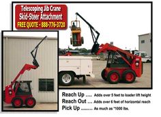 Easy Rack's Telescoping Jib Crane Skidsteer Attachment is a Contractor's Best Friend. Easy Rack's jib crane attachment for skidsteer loaders can select, move, and place all types of loads in places where bigger equipment can not fit. Landscapers like it because the telescoping crane jib is perfect for loading, transporting, setting trees and other bulky plants.