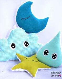 Lune étoile nuage et goutte d'eau en tissus décoration chambre de bébé bleu et anis : Jeux, peluches, doudous par shirleyzepap