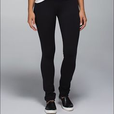 RARE Lululemon skinny groove pant full on Luon All black!! And black band, such cute pants & never been worn ! Out of stock on line !! RARE lululemon athletica Pants Leggings