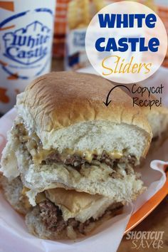 Copycat White Castle Sliders – Everyday Shortcuts If you love White Castle Sliders, you will love this Copycat Recipe for White Castle Sliders that tastes like the real thing but healthier. White Castle Sliders, Slider Sandwiches, Sliders Burger, Steak Sandwiches, Meat Sandwich, Mini Burgers, Sandwich Recipes, Slider Recipes, Beef Dishes