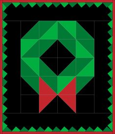 Christmas Wreath Quilt — Crafty Staci Quilt Square Patterns, Barn Quilt Patterns, Square Quilt, Christmas Present Quilt, Christmas Quilting, Christmas Tree Quilt, Christmas Blocks, Barn Quilt Designs, Quilting Designs