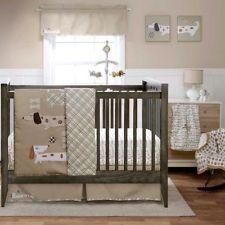 4pc Simple Beige Dog Bone Soccer Puppy Baby Boy Nursery Crib Bedding W Per
