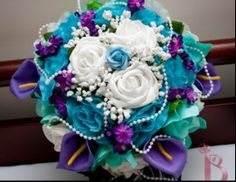 Purple and teal bouquet great colors