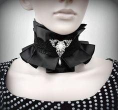 Victorian Wedding collar, Black Lolita fashion, Black Lace Choker. goth collar, Victorian lace necklace. Gothic choker, gothic jewellery