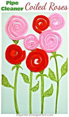 Pipe cleaner or yarn coiled roses. A great fine motor skill arts and craft idea for kids. Perfect for Valentine's Day or Mother's Day or to welcome spring flowers. #artsandcraftsgifts,