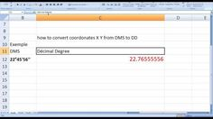 how to convert the X Y coordinates from (degree minute second) DMS to (decimal degrees) in Excel