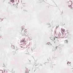Ophelia & Co. Larosa L x W Floral and Botanical Wallpaper Roll Color: Light Gray Modern Floral Wallpaper, Botanical Wallpaper, Textured Wallpaper, Plant Wallpaper, Rose Wallpaper, Wallpaper Roll, Wallpaper Ideas, Florence, Wallpaper Warehouse