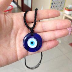 Turkish Evil Eye Adjutable Necklace 3CM/4CM Glass Charm Pendent Blue Kabbalah Jewish Fashion Jewelry Protector