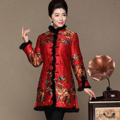 >> Click to Buy << Chinese style Female Long printing Overcoat Winter middle age Women cotton Jacket Monther Coat Formal Tang Suit Plus Size XXXL  #Affiliate