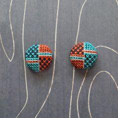 Bauhaus Cross Stitch Earrings by TheWerkShoppe on Etsy, $32.00