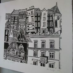 Zoe Badger City Windows lino print.