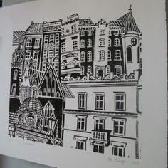 Zoe Badger City Windows lino print.