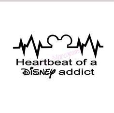 Disney Heartbeat of a Disney Addict Vinyl Decal by BearsCreate Disney Diy, Disney Crafts, Disney Love, Disney Magic, Disney Stuff, Disney Vacations, Disney Trips, Disney Cruise, Disney Decals