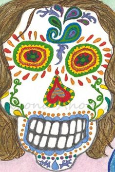 Print of Original Day of the Dead Man Watercolor Painting 4x6 (Matted) | ArizonaAhoteArt - Print on ArtFire