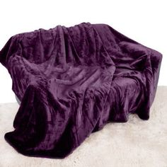 Purple Aubergine Mink Throw Luxury Soft Plush Extra Large (200cm x 240cm- Suitable for King Size Bed or 2/3 Seater Sofa) Sofa Bed Runner Bedspread Blanket by Quality Linen and Towels: Amazon.co.uk: Kitchen & Home