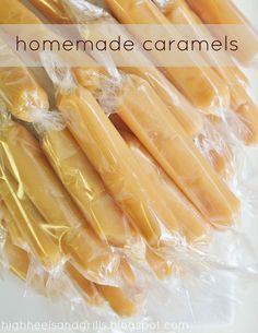 "caramels Cook on low heat+stir: 2 cups white sugar     1 cup corn syrup     1/4 tsp. salt     1 c heavy cream bring to boil. stir in""    1 c heavy cream bring to boil. stir in:     1/2 (12 oz.) can evaporated milk  cook to 232 degrees while stirring. remove from heat. add     1/2 Tbsp. vanilla extract  pour into greased 9x13 and leave alone for 12 hrs. cut into square and wrap."