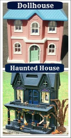 Halloween decorations to make - a pinner spray painted an old doll house and added other spooky extras./ Not the same doll house, at all. Different roof line, different windows, black one is flat across the front.  Cool!