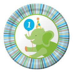 """Round 7"""" Sweet At One Boy birthday snack plates matching the Sweet At One Boy birthday party theme.  Perfect for appetizers, snacks, and cake.  Sold in quantities of 8."""