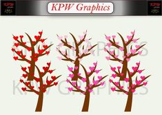 Valentine Holiday Heart Trees Clip-art Set in a PNG format. Personal & Small Commercial use Tree Clipart, Heart Tree, Png Format, Commercial, Trees, Clip Art, Invitations, Digital, Handmade Gifts