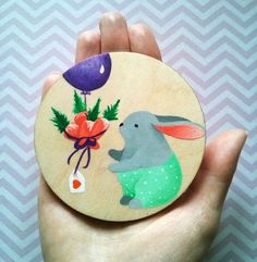 Acrylic illustration for children painted on wood - Cute Rabbit by YourLovelyArtwork on Etsy