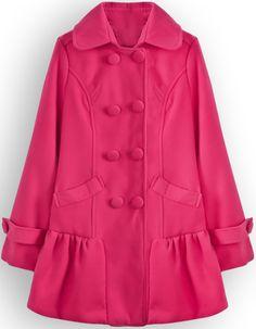 Pink Lapel Long Sleeve Double Breasted Woolen Coat - Sheinside.com