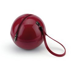 """""""Rock'n'Ball"""" sphere handbag in solid colour bright PVC with a pvc handle and a rubber plate"""