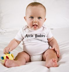 Funny Harry Potter Baby Onesie - Accio Boobies by kennieblossoms. Explore more products on http://kennieblossoms.etsy.com