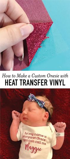 How to Make a Cute Onesie with Heat Transfer Vinyl // New baby on the way? Going to be in auntie? Looking for a fun baby gift idea? See how easy it is to make a custom onesie with heat transfer vinyl with this simple tutorial. #diy #vinyl #htv