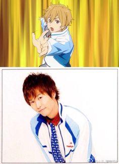 Nagisa and his voice actor Yonaga Tsubasa.