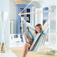 This pretty blue hammock chair will provide hours of relaxation either indoors or outside. Aqua Blue, Blue And White, Chairs For Rent, Chairs For Sale, Hammock Chair, Chair Bench, Hanging Chair, Ashley Furniture Chairs, Outdoor Furniture