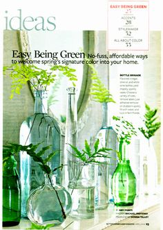 I like this display (and tips on how to clean the lables off reusable glass bottles)