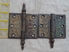 2 Vintage Victorian Eastlake Hinges 1 w/o Post Steel Excellent Patina Color Great for Any Door and Art