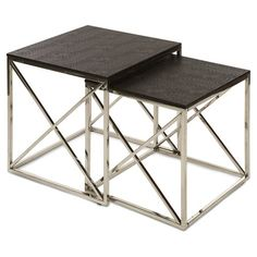 Showcasing deep brown croc-textured tops and stainless steel bases, these versatile nesting tables are perfect for resting stacks of magazines in the den or ...