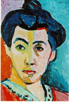 Fauvism - Henri Matisse - Green Stripe (Madame Matisse), 1905.  Royal Museum of Fine Arts, Copenhagen. Matisse painted this unusual portrait of his wife in 1905. The green stripe down the center of Amélie Matisse's face acts as an artificial shadow line and divides the face in the conventional portraiture style, with a light and a dark side, Matisse divides the face chromatically, with a cool and warm side. (webmuseum)