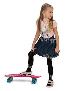 cut out little girl with a skateboard standing