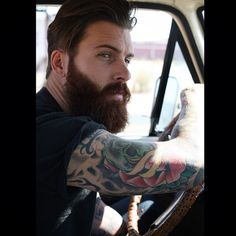 Levi Stocke - full thick dark red beard and mustache beards bearded man men mens' style tattoos tattooed vintage truck trucks redhead auburn ginger handsome #beardsforever