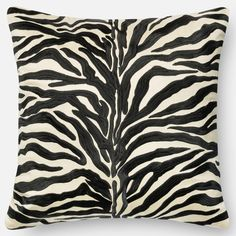 Zebra Modern Safari Embroidered Down Feather or Polyester Filled 18-inch Throw Pillow or Pillow Cover $38 (poly)